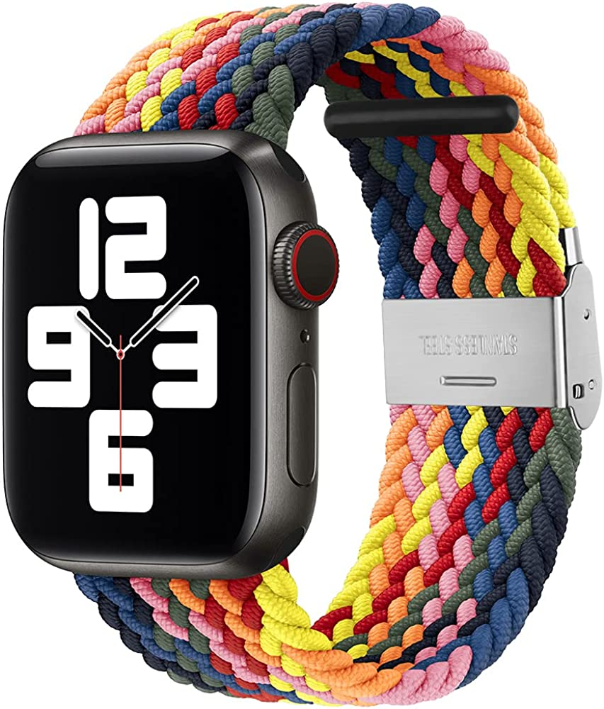 KSOM Compatible with Apple Watch Bands 38mm 40mm 42mm 44mm, Stretchable Braided Solo Loop Elastics Women Men Replacement Sport Wristband for iWatch Series 6/SE/5/4/3/2/1 with Buckles