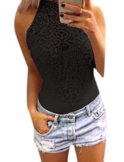c8e0bef18881 Comfy-Women Sexy Sleeveless Bodycon Lace Trim Hollow Out Splicing Bodysuit One  Piece Jumpsuits Black