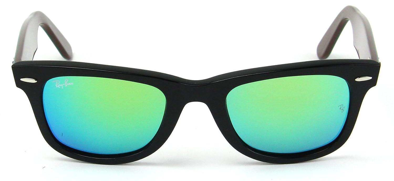 f73066f901851 Amazon.com  Ray-Ban RB2140 Original Wayfarer Bicolor Unisex Sunglasses ( Black Frame Green Flash Lens 117519