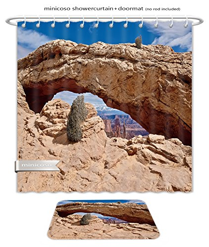 Minicoso Bath Two Piece Suit: Shower Curtains and Bath Rugs Natural Sandstone Arch Panoramic View Mesa Arch Canyonlands National Park Moab Cedar City Shower Curtain and Doormat - Macys Mesa