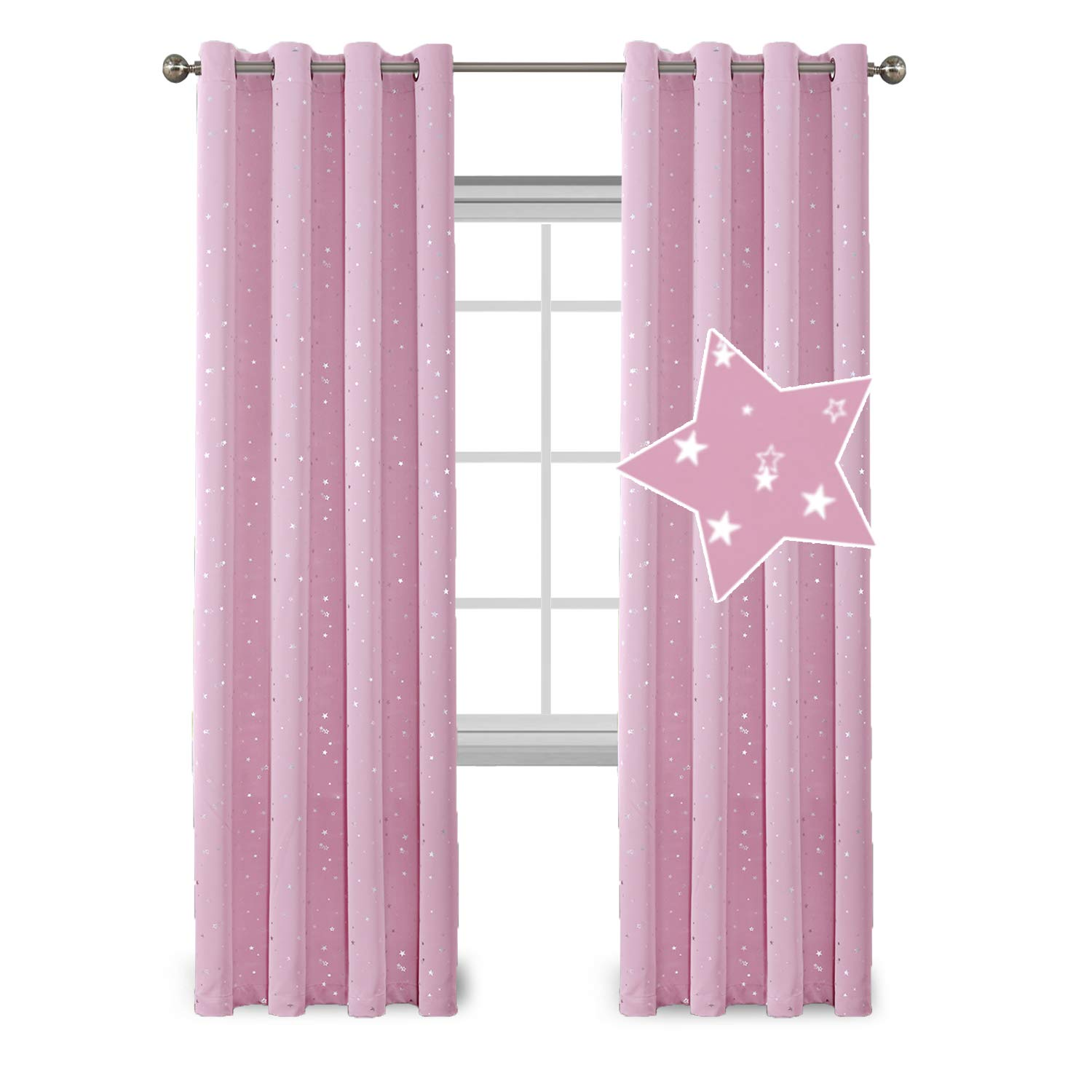 Flamingo P Light Blocking Curtains for Girls Room, Printed Pair(2 Panels) Room Darkening Thermal Insulated Grommet Top Blackout Pink Stars Kids Curtains/Drapers 96 by 52 inch