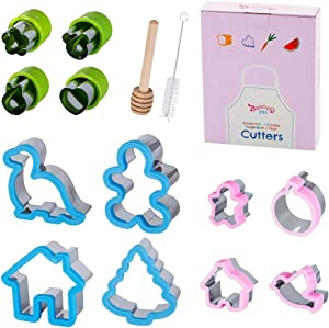Beyond 280 Sandwich Vegetable Fruit Cutters for Cute Fun Food Shapes, Stainless Steel Set for Healthy Joyful Meals, Unique School Lunch for Girls and Boys (14pcs-Dinosaur)