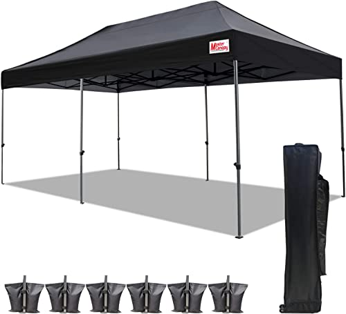 MASTERCANOPY Pop Up Canopy Tent 10×20 Commercial Instant Canopies with Heavy Duty Roller Bag,Bonus 4 Canopy Sand Bags 10×20 Feet, Black