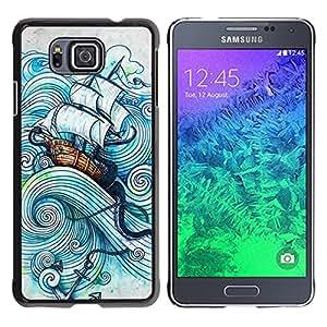 Caucho caso de Shell duro de la cubierta de accesorios de protección BY RAYDREAMMM - Samsung GALAXY ALPHA G850 - Sail Ship Boat Sea Storm Ocean Captain