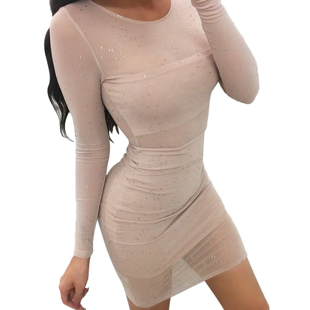 YOUJIA Damen Transparent Mini Bodycon Kleid Rundhals Cocktailkleid ...