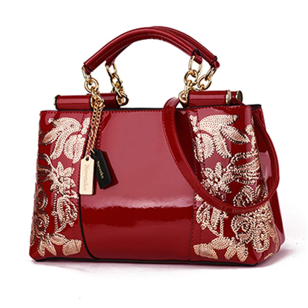 Red Luxury Evening Women Leather Handbag Embroidery Shoulder Bags Female Purses and Handbags with Sequins Totes golden