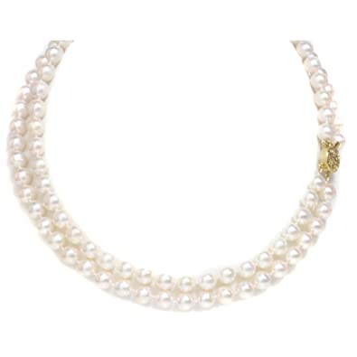 35b5835560377 Amazon.com: 14K Gold Japanese Akoya Saltwater White Pearl Necklace ...