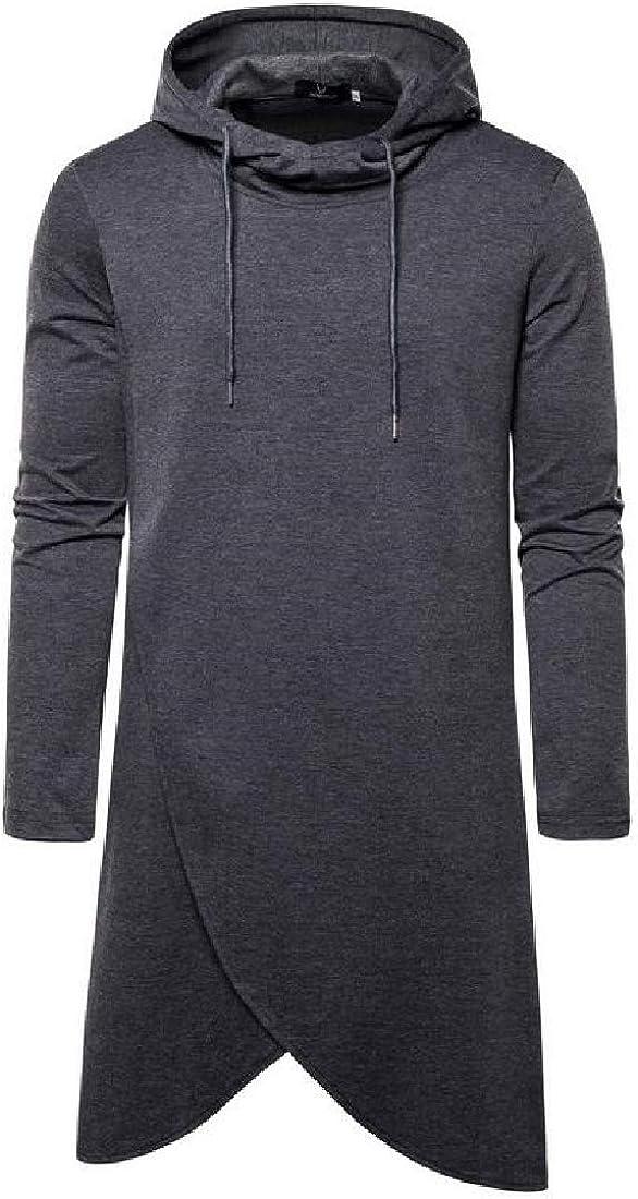 CRYYU Men Irregular Mid Length Hooded Autumn Solid Pullover Sweatshirt Coat