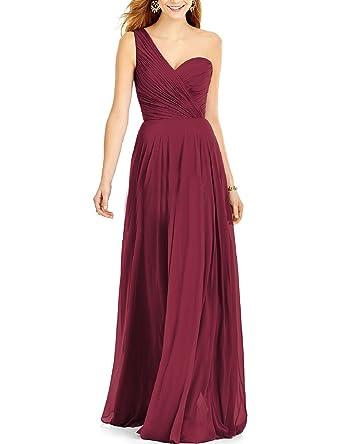 Verabeauty One Shoulder Chiffon Bridesmaid Dresses Long Prom Gown Burgundy Size 2