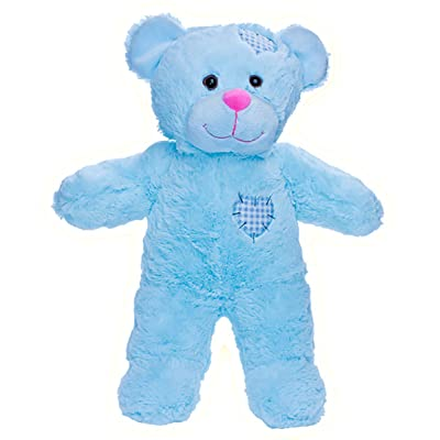 "Recordable 8"" Plush Baby Blue Patches Bear w/20 Second Digital Recorder for Special Messages, Rymes or Songs: Toys & Games"