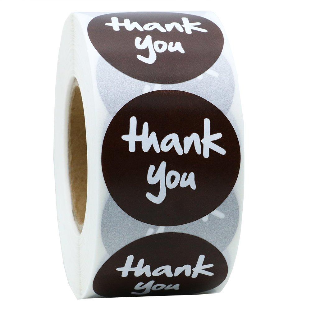Hot sale New (1,5 3,81 cm, colore: marrone-Adesivi con scritta Thank You, con etichette, Per un totale di 800 etichette Per rotolo 1 roll Hybsk