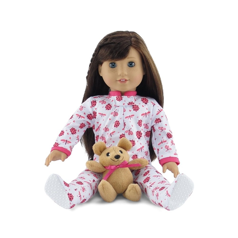 Fits American Girl Dolls Emily Rose Doll Clothes Cozy and Cute Footed Ladybug Print Pajama PJ Outfit Onesie with Teddy Bear 18 Inch Doll Clothes
