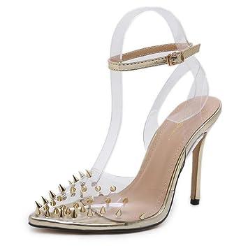 d78220ce51409c GAOLIXIA Frauen Spitz High Heels Pumps Nieten Transparent High Heel  Sandaletten Mode Freizeitschuhe Hof Schuhe Gold