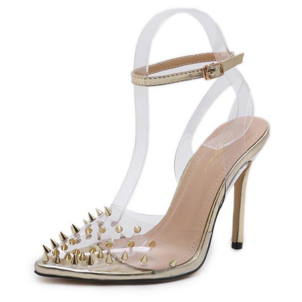 GAOLIXIA Frauen Spitz High Heels Pumps Nieten Transparent High Hof Heel Sandaletten Mode Freizeitschuhe Hof High Schuhe Gold Silber Party Abend Gold 4eb454
