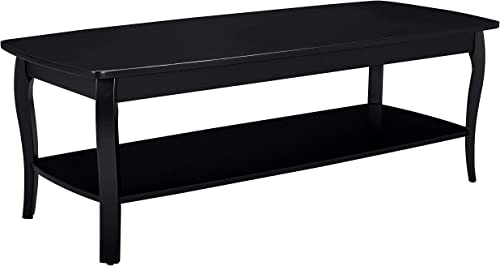 Ravenna Home Anne Marie Wood Shelf Curved Leg Storage Shelf Coffee Table, 52.5 W, Black