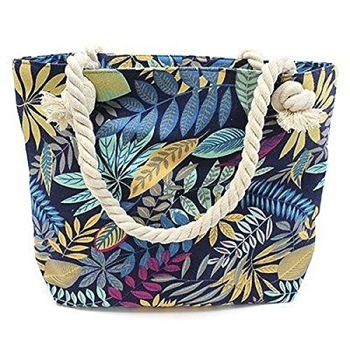 Zip Jungle Rope Leaf Tote Handle Bag Print Canvas Beach with Fastening zqzPrw