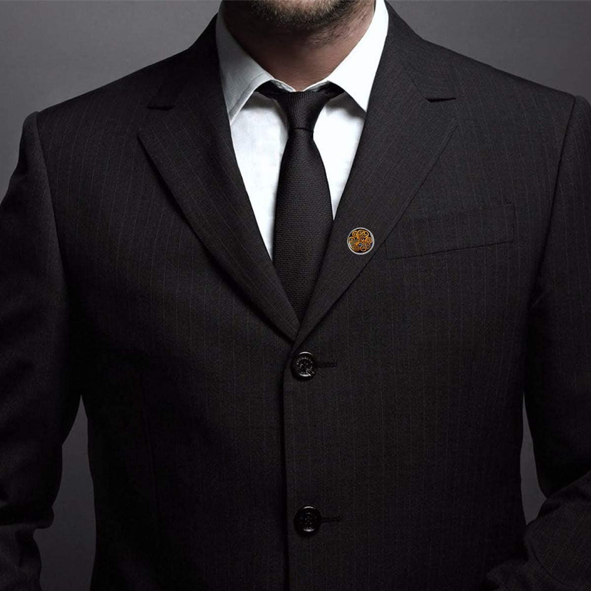 Custom Lapel Pin Brooches Buddhist Henna Mandala Art Blue Gold Banquet Badge Pins Trendy Accessory Jacket T-Shirt Bag Hat Shoe