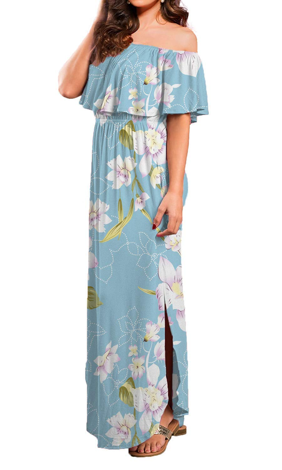 Donnalla Womens Off The Shoulder Summer Side Split Dress Ruffle Beach Long Maxi Dresses with Pockets(Blue Floral Large)