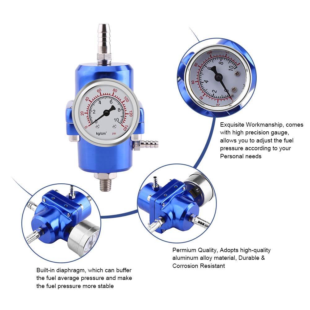 Universal Adjustable Fuel Pressure Regulator 0-140 PSI Gauge Hose Kit Blue 3 Colors Fuel Pressure Regulator