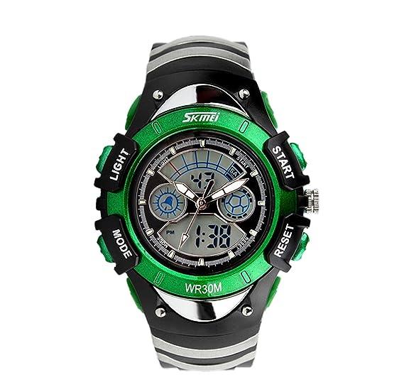 elegantes chicos únicas aports csual reloj al aire libre de doble horario analógico reloj digital verde
