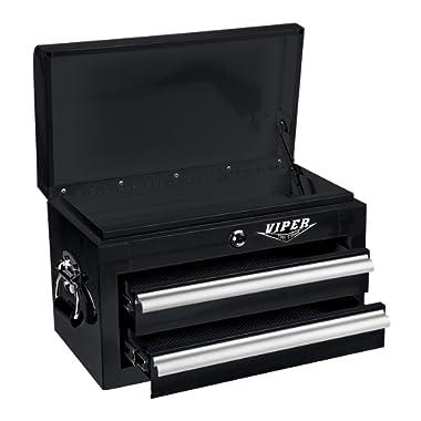 Viper Tool Storage V218MCBL 18-Inch 2-Drawer 18G Steel Mini Storage Chest w/ Lid Compartment, Black