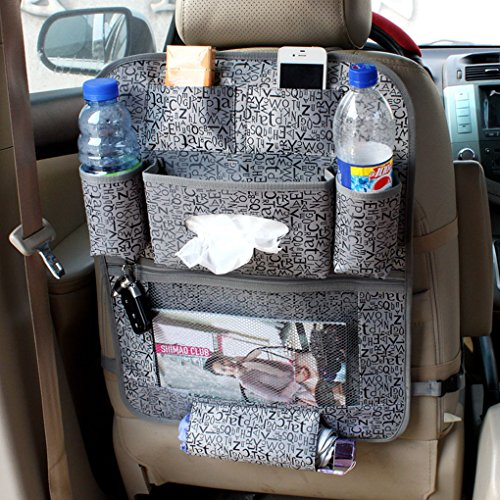 BXT High quality Waterproof fabric Car Auto Vehicle Seat Side Back Storage Multi-Pockets Backseat Hanging Travel Storage Bags Organizer litter Tissue Bag Pouch Multi-function car back bag Grey