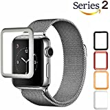 Josi Minea Apple Watch [42mm] 3D Tempered Glass Screen Protector with Edge to Edge Coverage Anti-Scratch Ballistic LCD Cover Guard Premium HD Shield for Apple Watch Series 2 - 42mm [ Silver ]