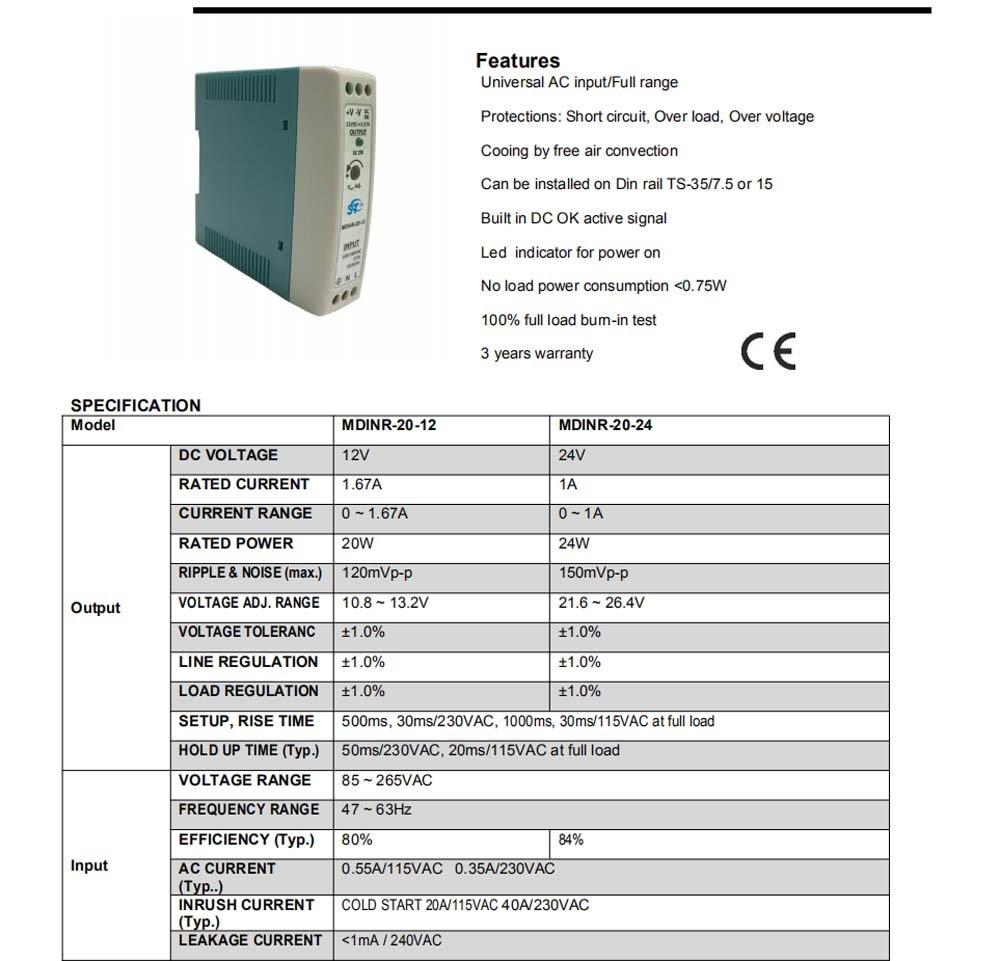 hub USB industriale and CNC machine sistemi di controllo industriale switch Ethernet industriale MDINR-60-24 Alimentatore industriale per guide DIN 60W 24V CC 2.5A CA // CC per PLC