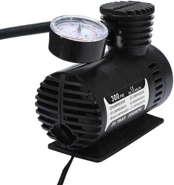 SEN Negro Port/átil 12V Auto Car Compresor de Aire neum/ático Infaltor Pump 300 PSI Negro