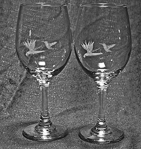 Hummingbird with Bird of Paradise Flower Laser Etched Large White Wine Glass Set (2, 20WW)