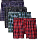 Fruit of the Loom Men's Woven Tartan and Plaid Boxer Multipack, Assorted Tartan (4 Pack), 3X-Large