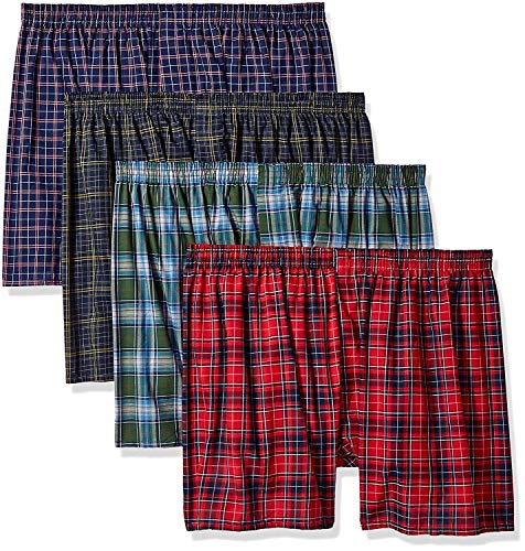 (Fruit of the Loom Men's Woven Tartan and Plaid Boxer Multipack, Assorted Tartan (4 Pack), 3X-Large)