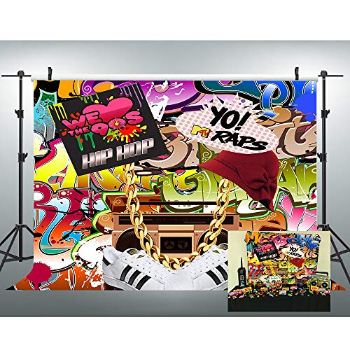 VVM 7x5ft Backdrop 80's 90's Themed Party Decoration Hip-Hop Graffiti Style Photo Booth Background Studio Props LXVV652 -