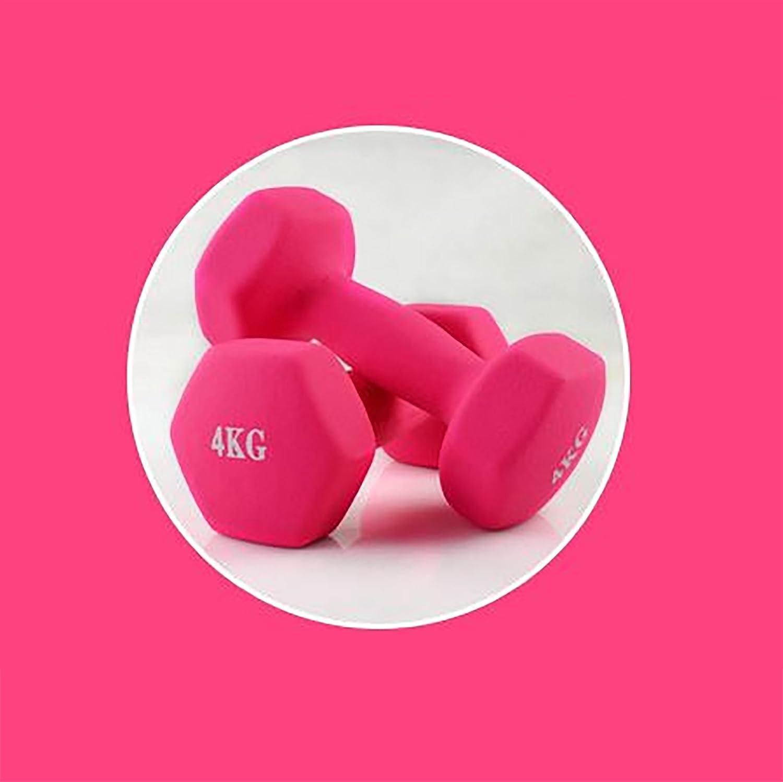 Par de mancuernas rosa (se vende en) 4 kg: Amazon.es: Deportes y ...