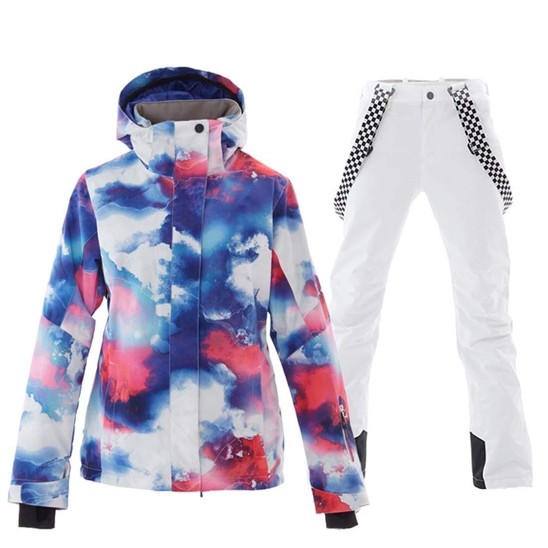 女性のスキージャケット防水 女性の防水スキージャケット暖かい冬の雪のコートマウンテンウインドブレーカーフード付きレインコート通気性のカラフルなプリントアウトドアウェア レディース冬の雪のジャケットレインコート (色 : ホワイト, サイズ : L) ホワイト Large