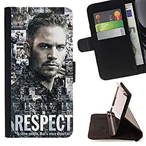 For HTC One M8 PAUL WALKER - RESPECT Leather Foilo Wallet Cover Case with Magnetic Closure