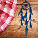 ILU® Dream Catcher Wall Hanging Handmade Beaded Circular Net with Feather Decoration Ornaments Size 7.5cm Diameter Blue