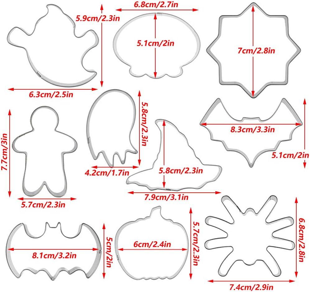 para Galletas de Halloween Fruta Queso Etc/—10 Piezas Plata S/ándwich Ziyero Halloween Conjunto Cortador Galleta Molde Fantasma Acero Inoxidable Bruja Sombrero Molde Superficie no Adhesiva Pan