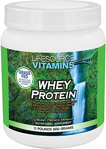 LifeSource Vitamins 1.1 lb Grass Fed Whey Protein Isolate - Creamy French Vanilla w Stevia - Free Priority Shipping