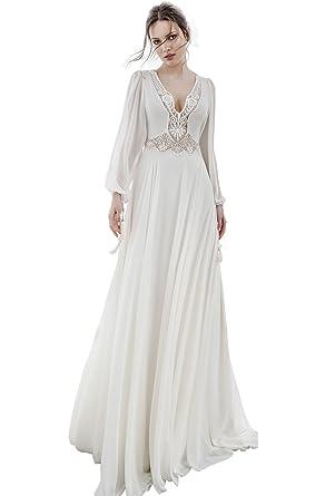 Dressvip Romantique Robe de Mariage de Mariée Bohême pour Mariage Manche Longue  Longue avec Traîne en Mousseline Nouvelle Collection 2018 Amazon.fr