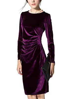 K&S Women's Gold Velvet Long Sleeve Slim Fit Pleated Round Neckline Dress (M, Purple)