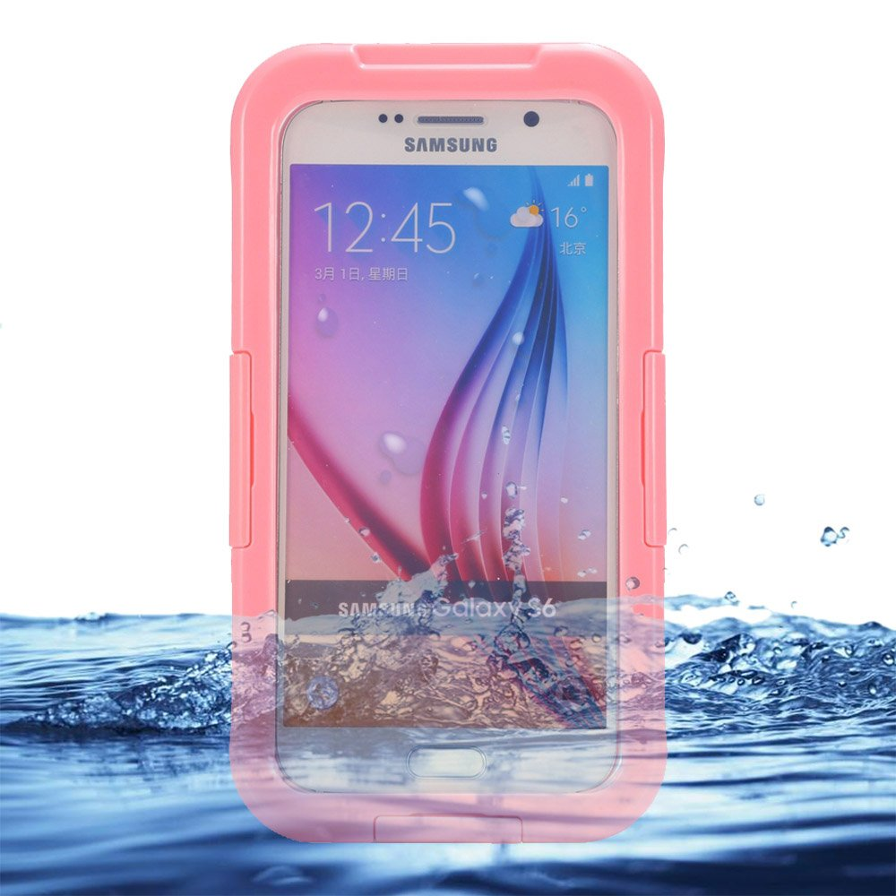 Eazewell Samsung Galaxy S6 Waterproof Case,Ultra-Slim IP68 Water Resistant Rugged Cover Shockproof Dustproof Snowproof Protective Shield Dry Box Hard Pouch for Samsung Galaxy S6 SVI SM-G920 (Pink)