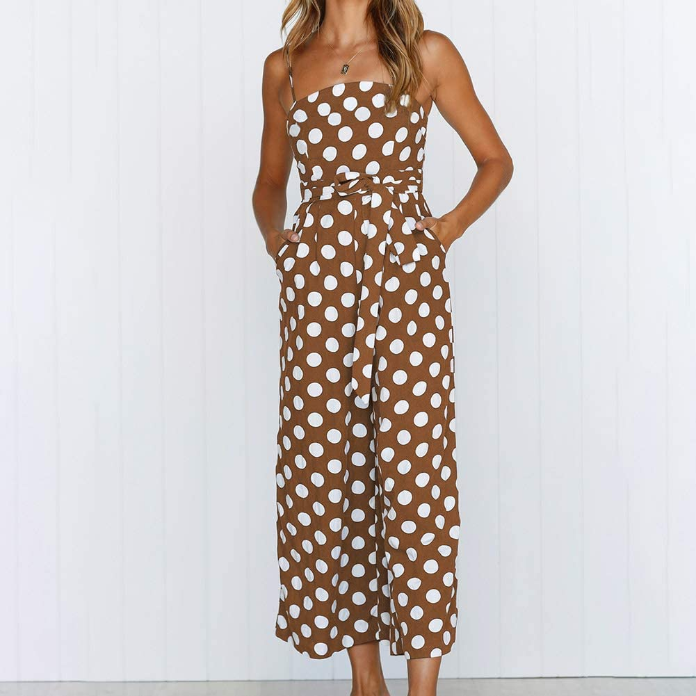 YZCH Jumpsuits Women,Womens Strappy Holiday Playsuit Ladies Jumpsuit Beach DOT Printed Wide Leg for Summer