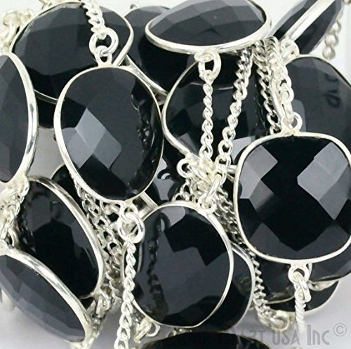 (One Foot Beautiful Black Onyx, 15mm Up Sterling Silver Mix Shape Bezel Connectors Chain (SPBO-20003))