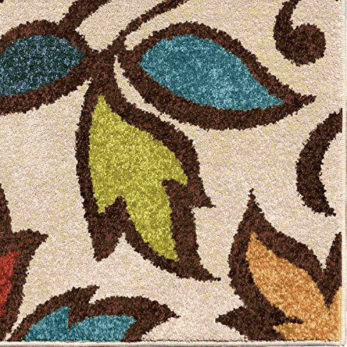 (Orian Rugs Indoor/Outdoor Leaves Despeinada Ivory Runner 2'3