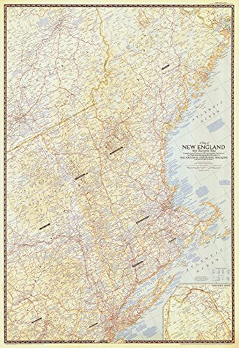 Historical Map Reproductions (1955 Nautical Chart | Historical A Map Of New England With Descriptive Notes | Fine Art Reproduction Print)