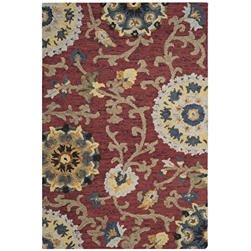 Safavieh Blossom Collection BLM401C Handmade Floral Vines Red and Multi Premium Wool Area Rug (2' x ()