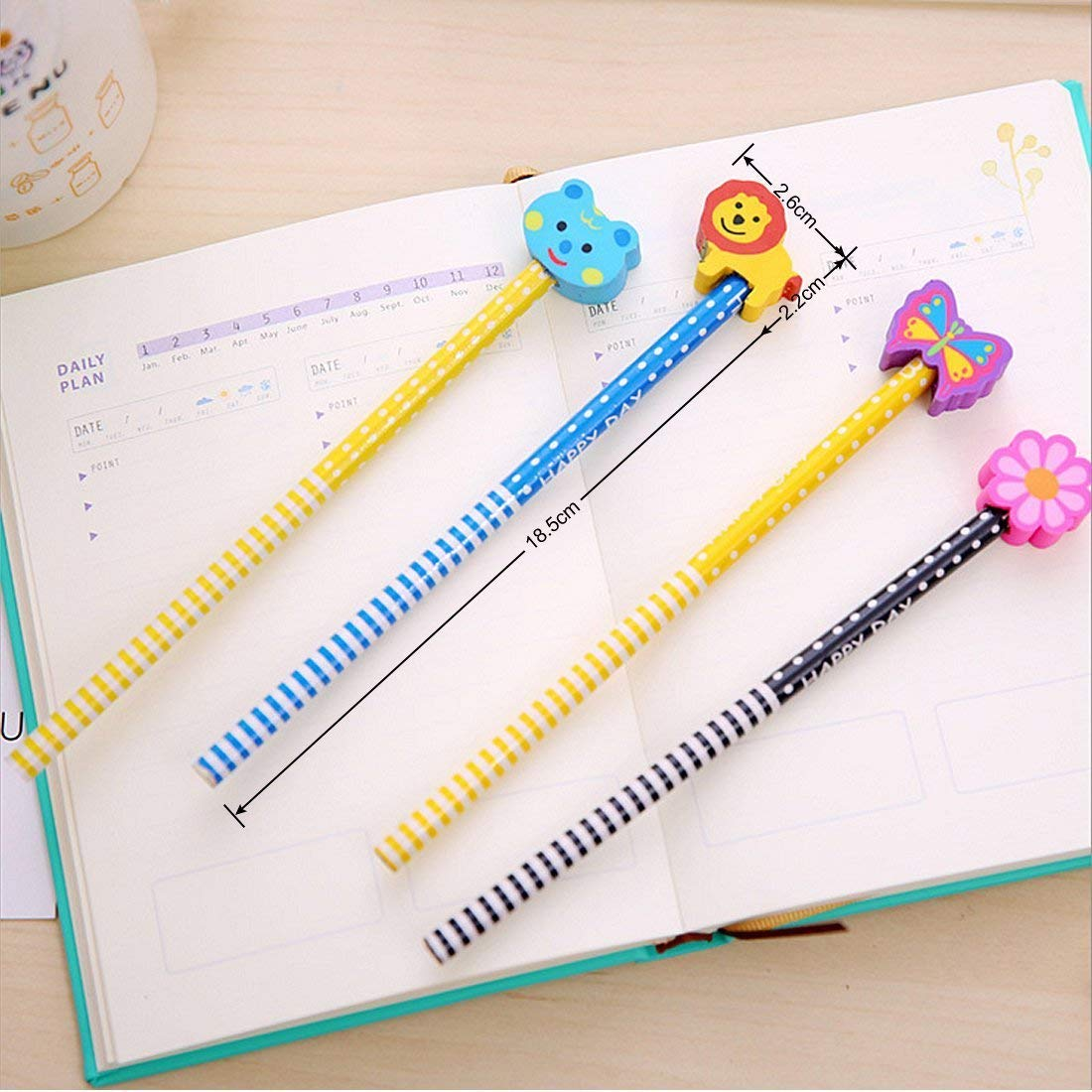 Pencils Hardness, Morkia 20 Pieces Set of Pencil Cartoon Pencils Kids Wooden with Erasers School Supplies Gift for Children, for Birthday Party Kids Festival Party