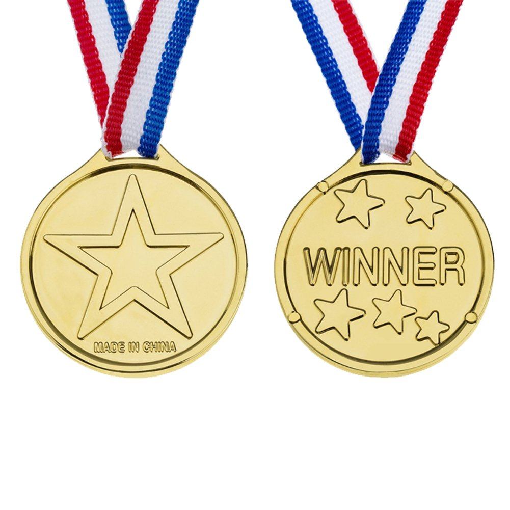 Shindel Winner Award Medals, Kids/Children\'s Plastic Gold Winners Medal Party Favor Birthday Present Dress Up, 24 PCS