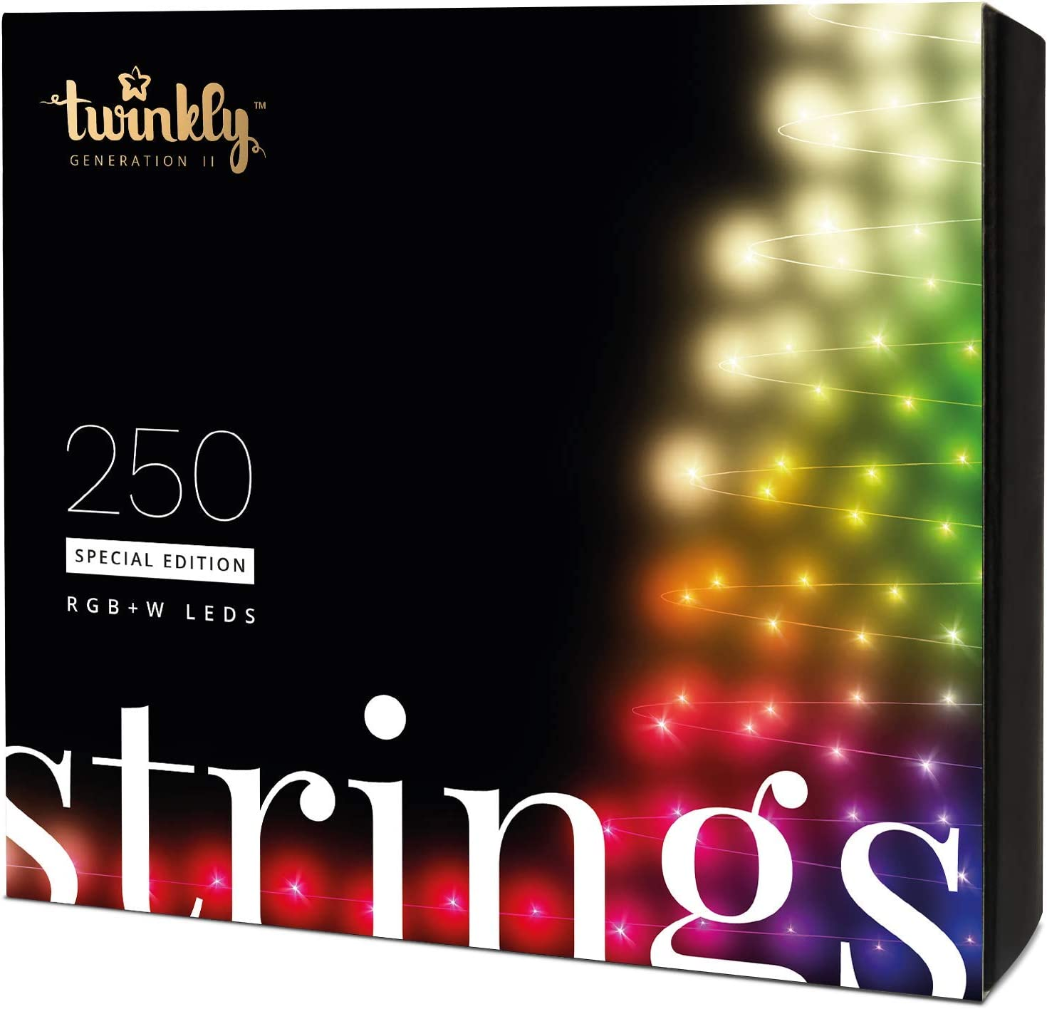 Twinkly Smart Decorations Custom LED String Lights Special Edition – App Controlled Light Strings with 250 RGB+W LED Lights – IoT Ready Customizable Lighting – Create or Download Light Displays